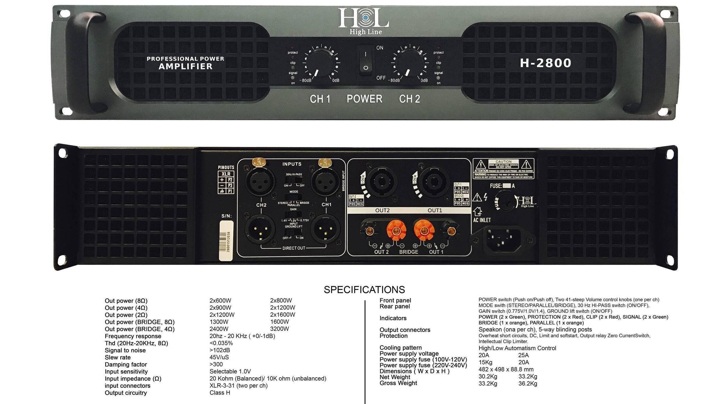 Amplificador HL H-2800